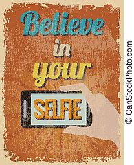 poster., vendemmia, motivazionale, illustrazione, vettore, retro, citazione