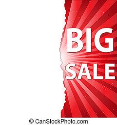 poster, verkoop, rood