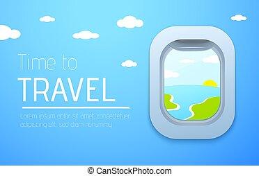 poster., viagem, avião., avião, desenho, janela., tempo, vista