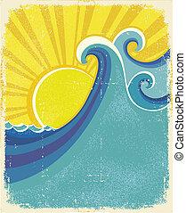 poster., vindima, textura, papel, ilustração, mar, ondas, antigas, paisagem