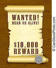 Poster Wanted dead or alive on wood texture background