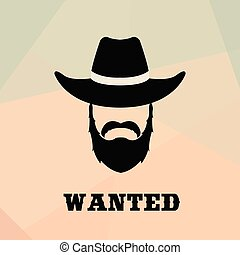 Poster Wanted with Bandit Portrait.