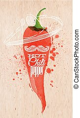 Poster watercolor hot chili pepper - Poster with red...