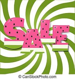 poster, watermeloen, verkoop, tekst