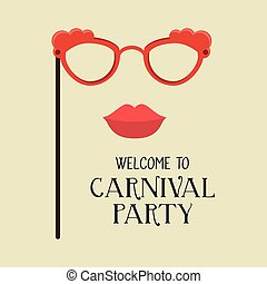 poster welcome carnival party glasses and woman lips