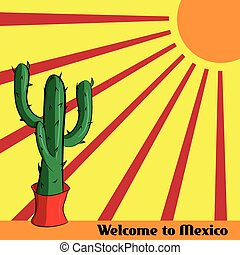Poster Welcome to Mexico with the image of the Mexican cactus and sun