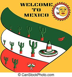 Poster Welcome to Mexico with the image of the Mexican flag, sombrero, spicy chili peppers, maracas and a lot of cacti