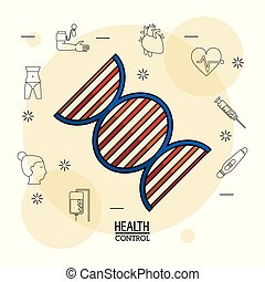 Poster white background with black silhouette icons of health control in background and colorful dna chain icon in closeup
