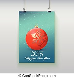 Poster with a Christmas ball on it