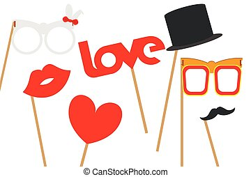 Poster with a set of love masks for man and woman. Vector illustration on a white isolated background.