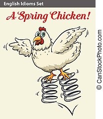 English idiom showing a spring chicken