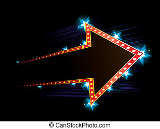 Poster with arrow - Arrow shape neon with star in background