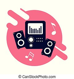 poster with baffle music audio vector illustration design