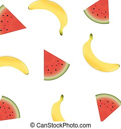 Poster With Banana And Watermelon