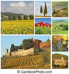 poster with beautiful italian landscape, Tuscany, Europe - ...