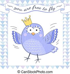 Poster with bird - Motivational poster with cute cartoon...