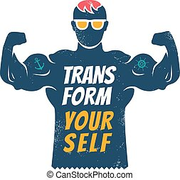 poster with bodybuilder for fitness motivation.
