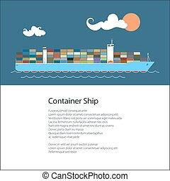 Poster with Cargo Container Ship