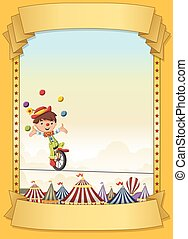Poster with cartoon clown juggling on tightrope over retro circus.
