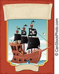Poster with cartoon pirates on a ship at the sea.