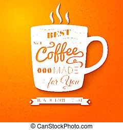 Poster with coffee cup on a bright cheerful background. Nice...