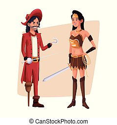 poster with couple pirate man and indian warrior costume halloween