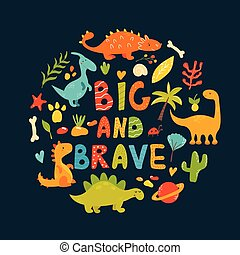 Poster with cute cartoon dinos characters. Suitable for...