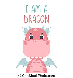 Poster with cute pink dragon and hand drawn lettering quote...