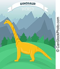 Poster with dinosaur on the background of a mountain landscape. Dinosaur world. Banner in a flat cartoon style.