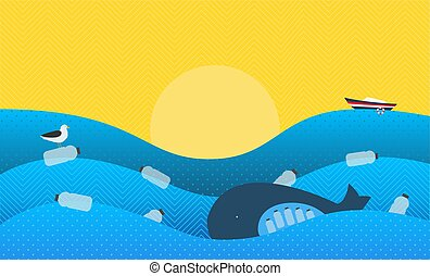 Poster with Ecological Theme: Plastic Pollution in the Ocean. The Whale with Plastic Bottles in Stomach, The Seabird sitting on Flowing Plastic Bottle.