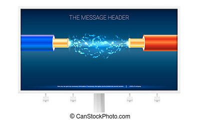 Poster with Electric cable and sparks on the Billboard. Copper electrical cable in blue and red insulation with electrical arc between the wires. Background for presentation or advertising.