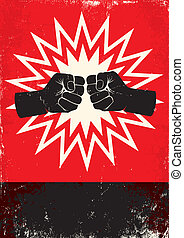 poster with fists - Red and black poster with two fists
