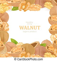 poster with frame of walnuts and green leaves for your design