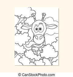 Poster with funny giraffe. Can be used for coloring book page design.