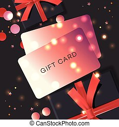 Poster with Gift cards, black gift box and confetti, vector illustration. Concept for online shopping, e-commerce.