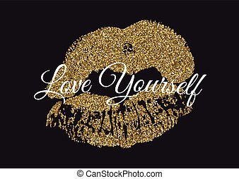 Poster with gold glitter lips prints