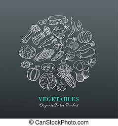Poster with hand drawn vegetables
