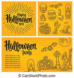 Poster with Happy Halloween calligraphy lettering and engraving