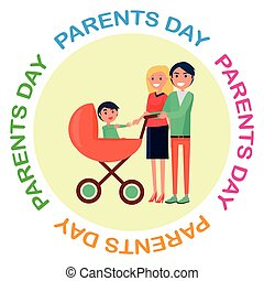 Poster with Inscription Dedicated to Parents Day