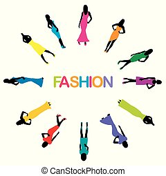 Poster with model women silhouette and word fashion