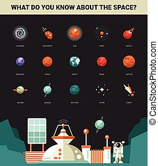 Poster with modern flat design space icons and infographics elem