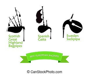 Poster with Most Popular Bagpipes - Set of Bagpipes, Vector...