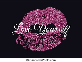Poster with pink glitter lips prints