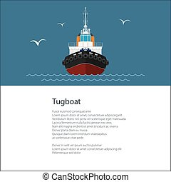 Poster with Push Boat - Industrial Vessel Tugboat , Push...