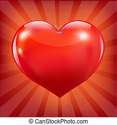 Poster With Red Heart And Sunburst
