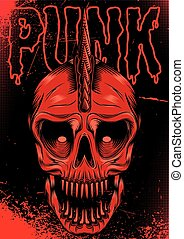 poster with red skull for punk rock