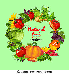 Poster with round frame made of fresh whole vegetables and healthy herbs. Sketch of poster, banner, placard, card on theme of harvest and healthy fitness diet. Vector cartoon close-up illustration.