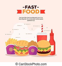poster with set of delicious, fast food