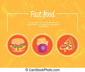 poster with set of delicious fast food