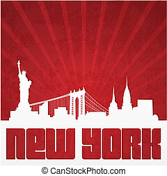 Poster with silhouette of New York - Paper-cut silhouette of...